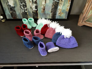 Baby Booties & Hat Set: 0-3 Month Clothing