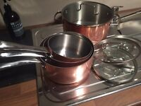 Set of plates copper pans