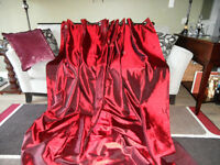 SET OF RED TAFFETA LOOK CURTAINS
