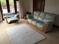 Leather 3 Seater Sofa And Electric Power Recliner Armchair Excellent Condition Delivery Possible