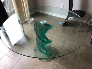 Modern Round glass dining table with 4 chairs
