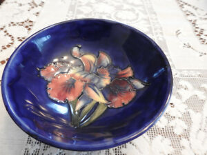 moorcroft cobalt blue footed bowl orchid pattern, 5 1/2""