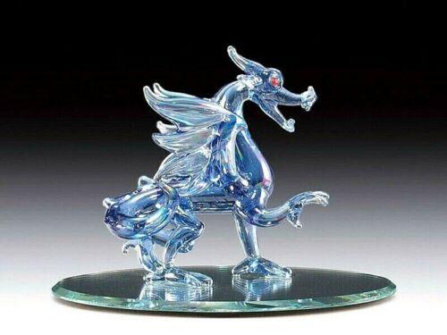 Dragon on mirror base hand blown art glass fantasy decor figurine blue