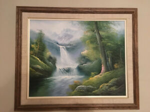 Painting with frame - waterfall oasis