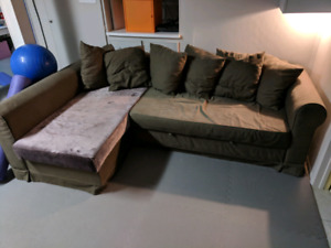Sectional couch sofa, ikea moheda, bed, storage, guest
