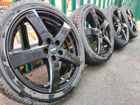 "18"" Black alloy wheels 5x112 Audi A3 S3 A4 Volkswagen Golf Seat Skoda"