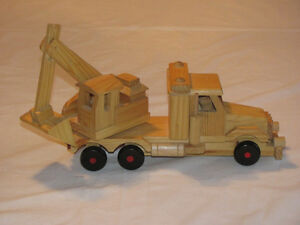 Reduced - Hand-crafted Wooden model of Backhoe on Truck Edmonton Edmonton Area image 2