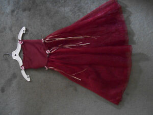 burgandy red flower girl dress size 5 6