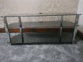 3 Tier TV Stand in Black Glass