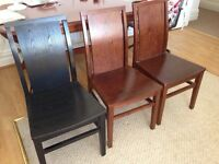 Brown Solid Wood Chairs x 2