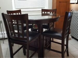 5 Piece Pub Style Dinette Set With Glass Top Protector