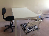 ikea 90% new table come with 2 white chairs