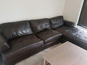 Brown pleather sectional