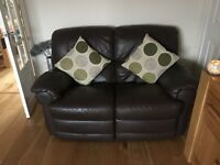 Two Brown leather sofa's (Harvey's)