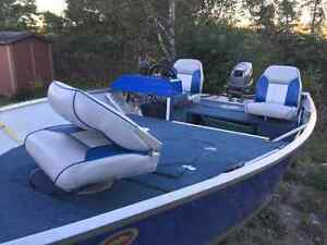 14 ft widebody aluminum boat with 30 hp outboard and trailer