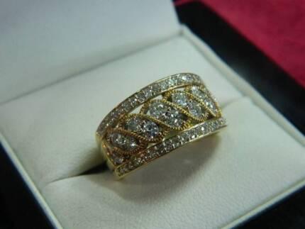 9ct Yellow Gold And Diamonds Filigree Slave Ring (#96317)