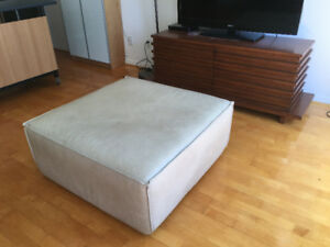 LARGE 3-FOOT SQUARE BEIGE OTTOMAN with WHEELS
