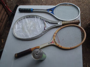 3 tennis racquets vintage old wood ,Alu and grahite