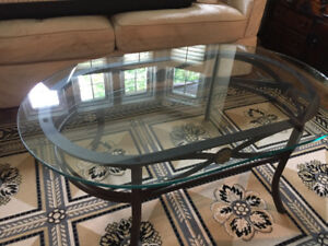Two beautiful wrought iron and glass side coffee tables