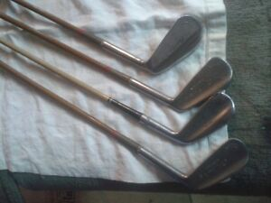 4 Antique Bamboo Golf Clubs
