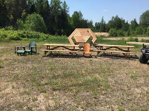 Rectangular or Hexagonal Picnic Tables, Muskoka Chairs, Benches