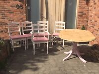 Beautiful pale pink table and 5 ivory chairs