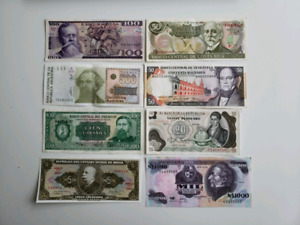 Collection of 8 Various Latin American Countries Banknotes