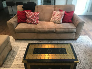 Tan Sectional sofa, loveseat and ottoman