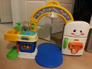 Kids play kitchen toy with sounds and music, see video