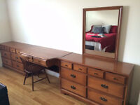 Dresser with desk and mirror