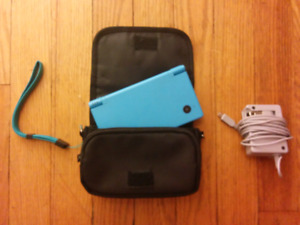 Blue Nintendo DSi with case and charger