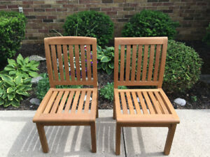 Teak Chairs with Seat Cushions-first quality! Like New.
