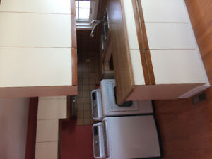 Kitchen cupboards, sink, tap, range hood and counter tops.