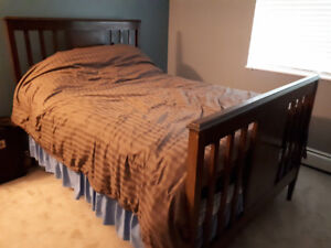 Solid wood bed frame, mattress and box spring