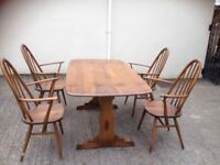 Ercol table and 4x chairs
