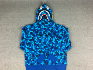 Blue camo Bape shark hoodie authentic
