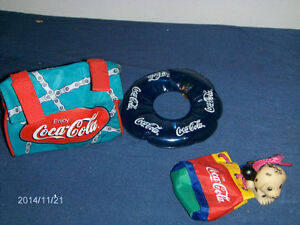 3 COCA COLA COLLECTIBLES-BICYCLE BAG-KEYCHAIN-TIRE-1990'S