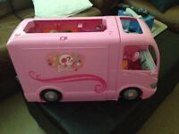 Like new Barbie camper with accessories