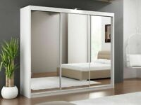 Brand New Lux 3 Door Sliding Full Mirror Wardrobe in White and Black Color