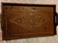 Vintage Mother of pearl inlaid wooden tray.