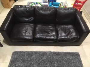 Brown Couch & Ottoman