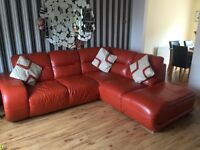 Leather Corner Sofa, Orange, Ex Sterling Furniture