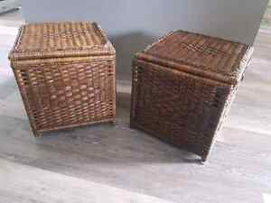 Brown Wicker Storage Cube