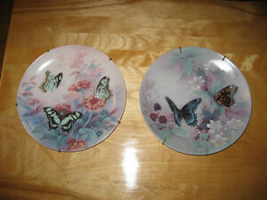 Bradex ( Lena Liu ) Hand Painted Fine China Plates / Butterflies