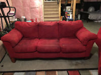 Red Microfiber Couch Loveseat and Chaise