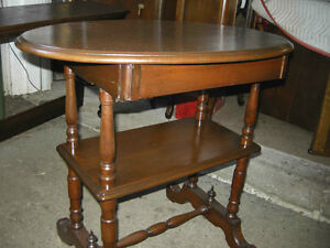 REDUCED antique walnut hall table, gallery shelf, hidden drawer