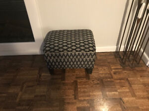 Black and White Ottoman/Foot Stool