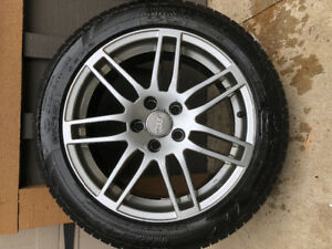 Audi aluminum wheels with snow tires