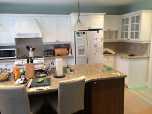 Large Kitchen with centre Island and granite counters