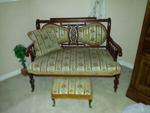 Antique Loveseat with cushion and foot stool Cambridge Kitchener Area image 1